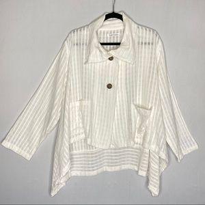 Yasuko Kurisaka White Lagenlook Top - One Size